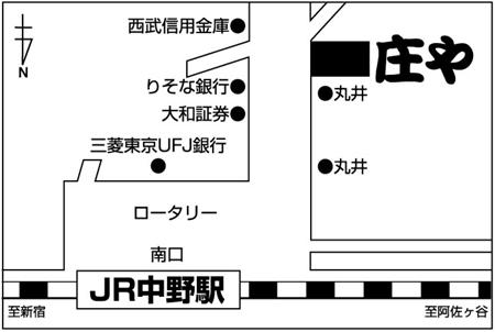 庄や 中野南口店店舗地図ご案内