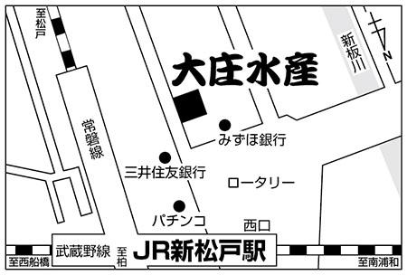 大庄水産 新松戸西口店店舗地図ご案内