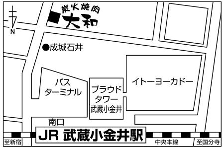 炭火焼肉 大和 武蔵小金井店店舗地図ご案内
