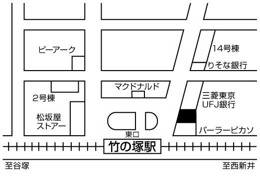 寿司 築地日本海 竹の塚店店舗地図ご案内