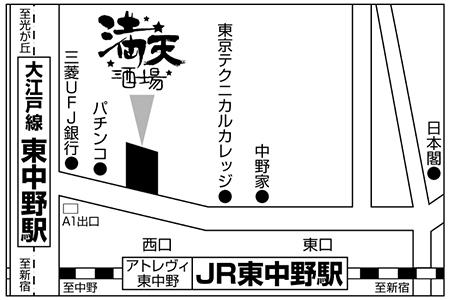 満天酒場 東中野店店舗地図ご案内