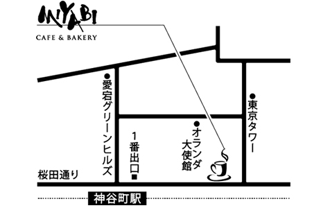 CAFE&BAKERY MIYABI オランダヒルズ店店舗地図ご案内